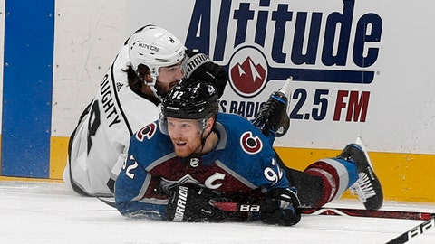 <p>               Colorado Avalanche left wing Gabriel Landeskog, right, gets tangled up with Los Angeles Kings defenseman Drew Doughty in the first period of an NHL hockey game Saturday, Jan. 19, 2019, in Denver. (AP Photo/David Zalubowski)             </p>