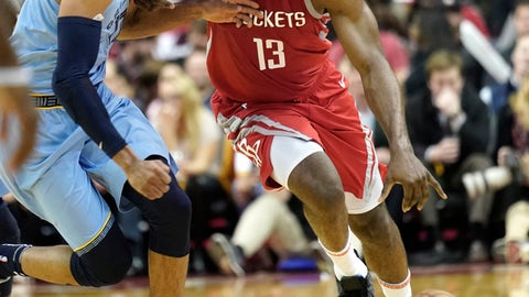 <p>               Houston Rockets' James Harden (13) drives past Memphis Grizzlies' Garrett Temple during the second half of an NBA basketball game Monday, Jan. 14, 2019, in Houston. The Rockets won 112-94. (AP Photo/David J. Phillip)             </p>