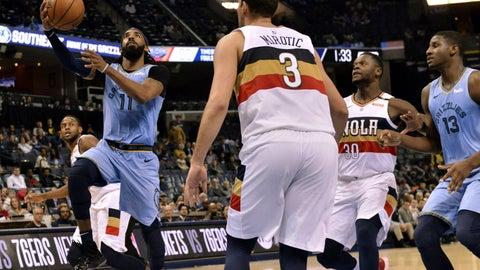 <p>               Memphis Grizzlies guard Mike Conley (11) shoots ahead of New Orleans Pelicans forward Nikola Mirotic (3) in the second half of an NBA basketball game Monday, Jan. 21, 2019, in Memphis, Tenn. (AP Photo/Brandon Dill)             </p>