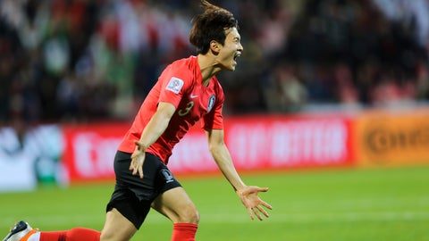 <p>               South Korea's defender Kim Jin-Su celebrates after he scored hsi team's second goal during the AFC Asian Cup round of 16 soccer match between South Korea and Bahrain at the Rashid Stadium in Dubai, United Arab Emirates, Tuesday, Jan. 22, 2019. (AP Photo/Kamran Jebreili)             </p>