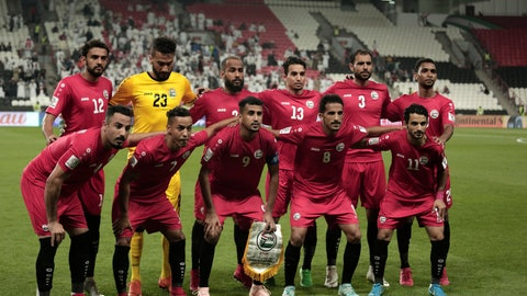 <p>               Yemen players pose for a picture during the AFC Asian Cup group D soccer match between Iran and Yemen at the Mohammed Bin Zayed Stadium in Abu Dhabi, United Arab Emirates, Monday, Jan. 7, 2019. (AP Photo/Nariman El-Mofty)             </p>