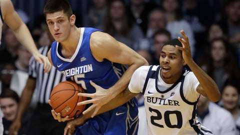 <p>               Creighton's Martin Krampelj (15) battles Butler's Henry Baddley (20) for a loose ball during the first half of an NCAA college basketball game, Saturday, Jan. 5, 2019, in Indianapolis. (AP Photo/Darron Cummings)             </p>