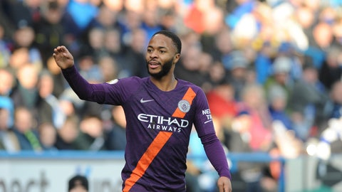 <p>               Manchester City's Raheem Sterling gestures during the English Premier League soccer match between Huddersfield Town and Manchester City at John Smith's stadium in Huddersfield, England, Sunday, Jan. 20, 2019. (AP Photo/Rui Vieira)             </p>