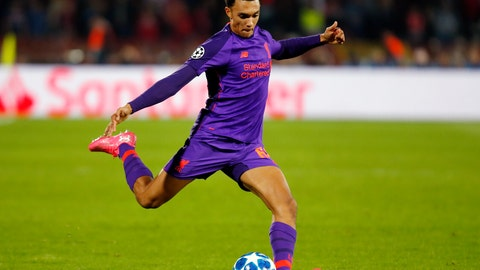 <p>               FILE - In this Tuesday, Nov. 6, 2018 file photo, Liverpool's Trent Alexander Arnold shoots the ball during their Champions League soccer match against Red Star at the Rajko Mitic stadium in Belgrade, Serbia. Liverpool and England defender Trent Alexander-Arnold has signed a new long-term contract with the Premier League leaders, it was announced Saturday, Jan. 19, 2019. The deal ties Alexander-Arnold to Liverpool until 2024, according to media reports, reflecting the progress the 20-year-old has made since his last contract in 2017. (AP Photo/Marko Drobnjakovic, file)             </p>