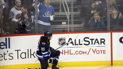 <p>               Winnipeg Jets' Mathieu Perreault (85) celebrates after scoring during first period NHL hockey action against the Colorado Avalanche in Winnipeg, Manitoba, Tuesday, Jan. 8, 2019. (Trevor Hagan/The Canadian Press via AP)             </p>
