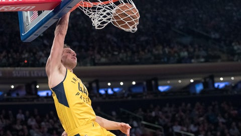<p>               Indiana Pacers forward Bojan Bogdanovic dunks during the first half of the team's NBA basketball game against the New York Knicks, Friday, Jan. 11, 2019, at Madison Square Garden in New York. (AP Photo/Mary Altaffer)             </p>