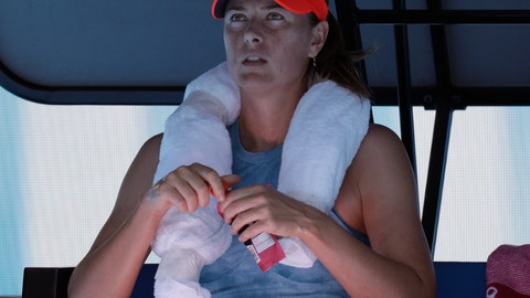 <p>               Russia's Maria Sharapova rests in her chair during her first round match against Britain's Harriet Dart at the Australian Open tennis championships in Melbourne, Australia, Monday, Jan. 14, 2019. (AP Photo/Aaron Favila)             </p>