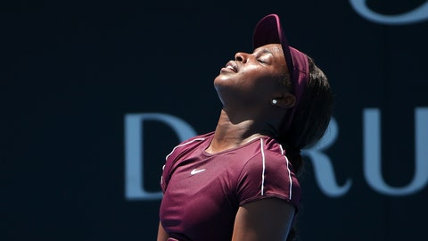 <p>               Sloane Stephens of the U.S. tilts her head back after missing a shot to Ekaterina Alexandrova of Russia during their women's singles match at the Sydney International tennis tournament in Sydney, Tuesday, Jan. 8, 2019. (AP Photo/Rick Rycroft)             </p>
