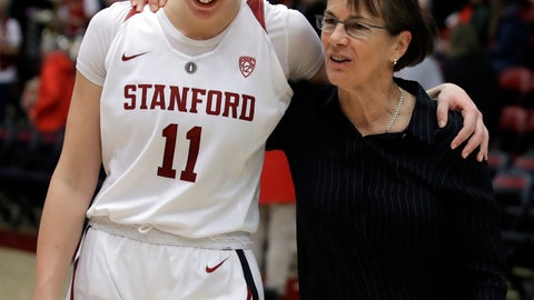 <p>               Stanford coach Tara VanDerveer, right, walks off the court after an NCAA college basketball game with Alanna Smith (11) after her 900th win at Stanford, defeating Washington State Sunday, Jan. 20, 2019, in Stanford, Calif. (AP Photo/Ben Margot)             </p>