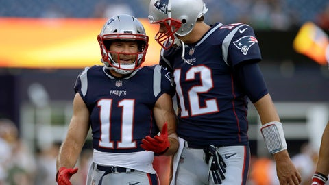 <p>               FILE - In this Aug. 9, 2018, file photo, New England Patriots wide receiver Julian Edelman (11) talks with quarterback Tom Brady (12) before a preseason NFL football game against the Washington Redskins in Foxborough, Mass. There's just two receivers in NFL postseason history with over 100 catches – Jerry Rice with 151 and Edelman with 105. That link has only been strengthened off the field in the past year as Brady and Edelman prepare to play in their fourth Super Bowl together. (AP Photo/Charles Krupa, File)             </p>