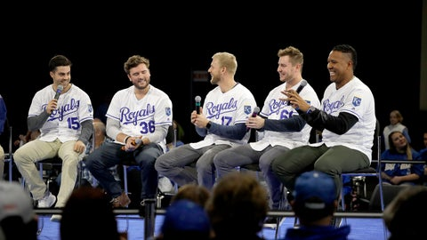 <p>               Kansas City Royals players Whit Merrifield (15), Cam Gallagher (36), Hunter Dozier (17), Ryan O'Hearn and Salvador Perez, right, answer questions from the crowd while appearing at the Royals Fanfest event Friday, Jan. 25, 2019, at Bartle Hall convention center in Kansas City, Mo. (AP Photo/Charlie Riedel)             </p>