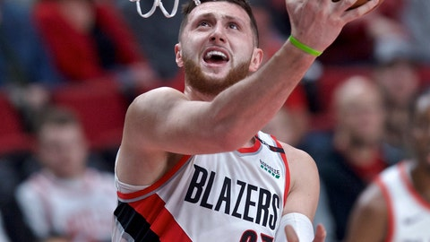 <p>               Portland Trail Blazers center Jusuf Nurkic scores during the first half of the team's NBA basketball game against the Chicago Bulls in Portland, Ore., Wednesday, Jan. 9, 2019. (AP Photo/Craig Mitchelldyer)             </p>