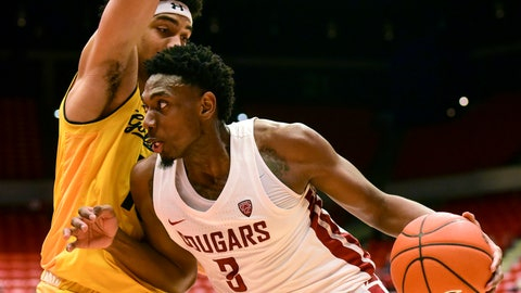 <p>               Washington State forward Robert Franks (3) drives to the basket as California forward Justice Sueing (10) defends during the second half of an NCAA college basketball game Thursday, Jan. 17, 2019, in Pullman, Wash. Washington State won 82-59. (Pete Caster/The Lewiston Tribune via AP)             </p>