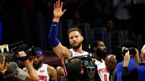 <p>               Detroit Pistons' Blake Griffin waves to fans during the first half of an NBA basketball game against the Los Angeles Clippers, Saturday, Jan. 12, 2019, in Los Angeles. (AP Photo/Ringo H.W. Chiu)             </p>