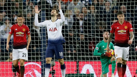 <p>               Tottenham's Fernando Llorente, center, reacts after a missed chance to score during the English Premier League soccer match between Tottenham Hotspur and Manchester United at Wembley stadium in London, England, Sunday, Jan. 13, 2019. (AP Photo/Tim Ireland)             </p>