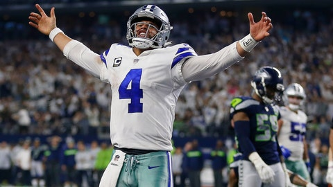 <p>               Dallas Cowboys quarterback Dak Prescott (4) celebrates his first down near the goal line against the Seattle Seahawks during the second half of the NFC wild-card NFL football game in Arlington, Texas, Saturday, Jan. 5, 2019. (AP Photo/Ron Jenkins)             </p>