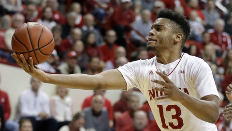 <p>               Indiana's Juwan Morgan grabs a rebound during the first half of the team's NCAA college basketball game against Illinois, Thursday, Jan. 3, 2019, in Bloomington, Ind. (AP Photo/Darron Cummings)             </p>