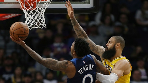 <p>               Minnesota Timberwolves' Jeff Teague shoots the ball around Los Angeles Lakers' Tyson Chandler in the second half of an NBA basketball game Sunday, Jan. 6, 2019, in Minneapolis. Minnesota won 108-86. (AP Photo/Stacy Bengs)             </p>