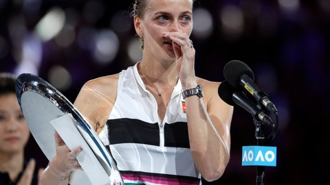 <p>               Petra Kvitova of the Czech Republic speaks after losing to Japan's Naomi Osaka in the women's singles final at the Australian Open tennis championships in Melbourne, Australia, Saturday, Jan. 26, 2019. (AP Photo/Mark Schiefelbein)             </p>