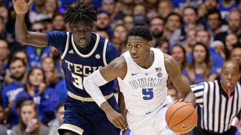 <p>               Duke's RJ Barrett (5) dribbles past Georgia Tech's Abdoulaye Gueye during the second half of an NCAA college basketball game in Durham, N.C., Saturday, Jan. 26, 2019. Duke won 66-53. (AP Photo/Gerry Broome)             </p>