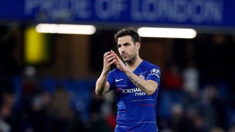<p>               Chelsea's Cesc Fabregas applauds the supporters at the end of the English FA Cup third round soccer match between Chelsea and Nottingham Forest at Stamford Bridge in London, Saturday, Jan. 5, 2019. Chelsea won 2-0. (AP Photo/Alastair Grant)             </p>