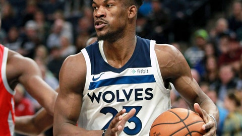<p>               FILE - In this Feb. 13, 2018, file photo, Minnesota Timberwolves guard Jimmy Butler (23) drives against the Houston Rockets during an NBA basketball game, in Minneapolis. The Timberwolves, trying to build off the fresh-start vibe behind 32-year-old interim head coach Ryan Saunders, are ready to show Jimmy Butler what he's been missing. The Wolves play at Philadelphia on Tuesday, Jan. 15, 2019, facing Butler for the first time since he was traded to the 76ers two months ago. (AP Photo/Andy Clayton-King, File)             </p>