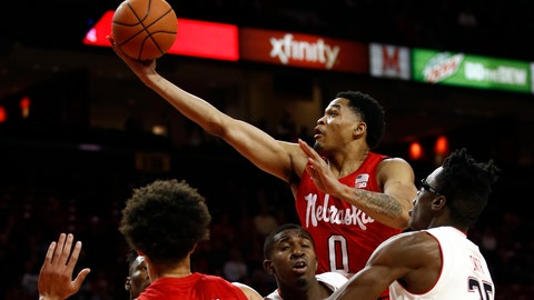 <p>               Nebraska guard James Palmer (0) shoots a basket in the first half of an NCAA college basketball game against Maryland, Wednesday, Jan. 2, 2019, in College Park, Md. (AP Photo/Patrick Semansky)             </p>