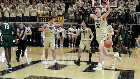<p>               Purdue center Matt Haarms (32) celebrates following an NCAA college basketball game against Michigan State in West Lafayette, Ind., Sunday, Jan. 27, 2019. (AP Photo/Michael Conroy)             </p>