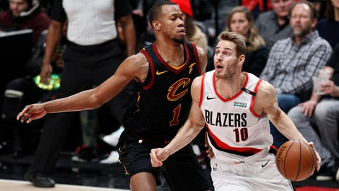 <p>               Portland Trail Blazers forward Jake Layman, right, drives against Cleveland Cavaliers guard Rodney Hood during the first half of an NBA basketball game in Portland, Ore., Wednesday, Jan. 16, 2019. (AP Photo/Steve Dipaola)             </p>