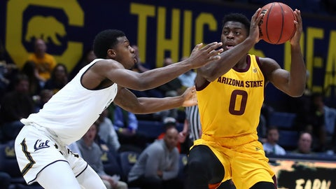 <p>               Arizona State guard Luguentz Dort, right, works the ball against California's Darius McNeill during the first half of an NCAA college basketball game Wednesday, Jan. 9, 2019, in Berkeley, Calif. (AP Photo/Ben Margot)             </p>