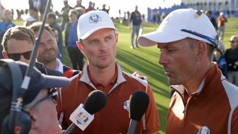 <p>               FILE - In this Sept. 29, 2018 file photo, Europe's Justin Rose, center, and Europe's Henrik Stenson are interviewed after winning a foursome match on the second day of the 42nd Ryder Cup at Le Golf National in Saint-Quentin-en-Yvelines, outside Paris, France. The PGA Tour is experimenting this year on whether to have short interviews with players during their rounds. (AP Photo/Matt Dunham, File)             </p>