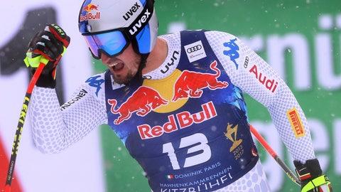 <p>               Italy's Dominik Paris celebrates at the finish area of an alpine ski, men's World Cup downhill, in Kitzbuehel, Austria, Friday, Jan. 25, 2019. (AP Photo/Alessandro Trovati)             </p>