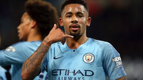 <p>               Manchester City forward Gabriel Jesus gestures after scoring his side second goal during the English League Cup semi-final first leg soccer match between Manchester City and Burton Albion at the Etihad Stadium in Manchester, England, Wednesday, Jan. 9, 2019. (AP Photo/Dave Thompson)             </p>