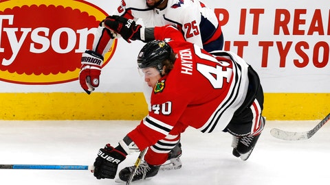 <p>               Chicago Blackhawks right wing John Hayden (40) tries to get to a puck ahead of Washington Capitals right wing Devante Smith-Pelly (25) during the third period of an NHL hockey game Sunday, Jan. 20, 2019, in Chicago. (AP Photo Nuccio DiNuzzo)             </p>
