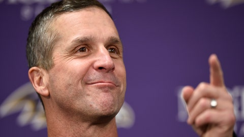<p>               FILE - In this Dec. 30, 2018, file photo, Baltimore Ravens head coach John Harbaugh speaks at a news conference after an NFL football game against the Cleveland Browns, in Baltimore.  It should be a busy offseason for Harbaugh, who's working with a new contract, adjusting to a first-year general manager and teaming with a different offensive coordinator. (AP Photo/Gail Burton, File)             </p>