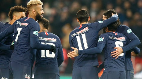 <p>               PSG's squad celebrates the opening goal during the French Cup soccer match between Paris Saint Germain and Strasbourg at the Parc des Princes stadium in Paris, Wednesday, Jan. 23, 2019. (AP Photo/Michel Euler)             </p>