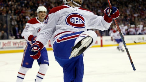 <p>               Montreal Canadiens forward Tomas Tatar, right, of Slovakia, celebrates his goal against the Columbus Blue Jackets in front of teammate forward Artturi Lehkonen, of Finland, during the first period of an NHL hockey game in Columbus, Ohio, Friday, Jan. 18, 2019. The Canadiens won 4-1. (AP Photo/Paul Vernon)             </p>