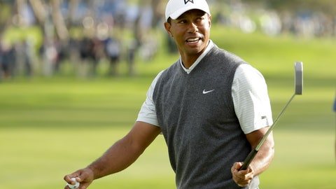 <p>               Tiger Woods reacts on the 18th hole of the South Course at Torrey Pines Golf Course during the first round of the Farmers Insurance golf tournament Thursday, Jan. 24, 2019, in San Diego. (AP Photo/Gregory Bull)             </p>