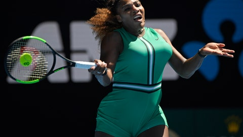 <p>               United States' Serena Williams makes a forehand return to Ukraine's Dayana Yastremska during their third round match at the Australian Open tennis championships in Melbourne, Australia, Saturday, Jan. 19, 2019. (AP Photo/Andy Brownbill)             </p>