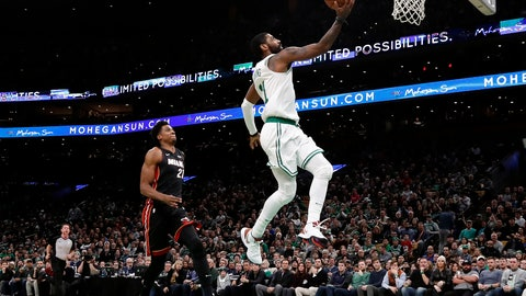 <p>               Boston Celtics' Kyrie Irving, right, goes in for a layup past Miami Heat's Hassan Whiteside during the second quarter of an NBA basketball game Monday, Jan. 21, 2019, in Boston. (AP Photo/Winslow Townson)             </p>
