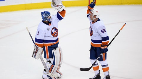 <p>               New York Islanders goaltender Thomas Greiss (1) celebrates with defenseman Johnny Boychuk (55) after an NHL hockey game against the Washington Capitals, Friday, Jan. 18, 2019, in Washington. The Islanders won 2-0. (AP Photo/Nick Wass)             </p>