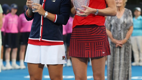 <p>               Petra Kvitova of the Czech Republic, right, holds the winners trophy as she poses for photographers with runner up Ashleigh Barty of Australia after their women's final match at the Sydney International tennis tournament in Sydney, Australia, Saturday, Jan. 12, 2019. (AP Photo/David Moir)             </p>