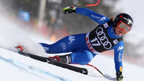 <p>               FILE - In this March 15, 2018 file photo, Italy's Sofia Goggia speeds down the course during a women's super-G at the alpine ski World Cup finals in Are, Sweden. A spokesman for the Italian Winter Sports Federation said on Wednesday, Jan. 16, 2019 that Goggia is planning to return from injury later this month and will participate in downhill training in Garmisch-Partenkirchen, Germany, beginning Jan. 24 with an eye toward competing in downhill and super-G races at the German resort on Jan. 26 and 27, respectively. (AP Photo/Alessandro Trovati, file)             </p>