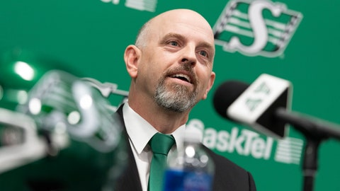 <p>               Saskatchewan Roughriders head coach Craig Dickenson speaks during a media announcement at Mosaic Stadium in Regina, Saskatchewan, Friday, Jan. 25, 2019. Dickenson was hired for the position after previous head coach Chris Jones left the team for a job with the Cleveland Browns. (Michael Bell/The Canadian Press via AP)             </p>