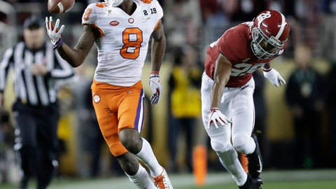<p>               Clemson's Justyn Ross makes a one-handed catch in front of Alabama's Josh Jobe during the second half of the NCAA college football playoff championship game, Monday, Jan. 7, 2019, in Santa Clara, Calif. (AP Photo/Ben Margot)             </p>