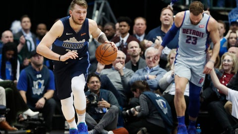 <p>               Dallas Mavericks forward Luka Doncic (77) comes up with the ball against Detroit Pistons forward Blake Griffin (23) during the second half of an NBA basketball game in Dallas, Friday, Jan. 25, 2019. (AP Photo/LM Otero)             </p>