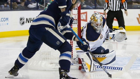 <p>               Buffalo Sabres' Carter Hutton, right, makes a save against Columbus Blue Jackets' Nick Foligno during the second period of an NHL hockey game Tuesday, Jan. 29, 2019, in Columbus, Ohio. (AP Photo/Jay LaPrete)             </p>
