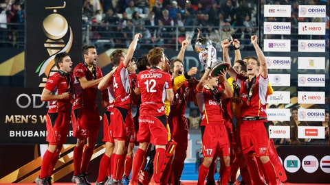 <p>               FILE - In this Sunday, Dec. 16, 2018 file photo, Belgium players celebrate with the winners trophy after their win over Netherlands in the Men's Hockey World Cup finals at Kalinga Stadium in Bhubaneswar, India. On Saturday Jan. 19, 2019, Thierry Weil will be in Valencia as the International Hockey Federation's CEO so see Spain host top-ranked world champion Belgium in the first men's game of the FIH Pro League. (AP Photo/Aijaz Rahi, File)             </p>