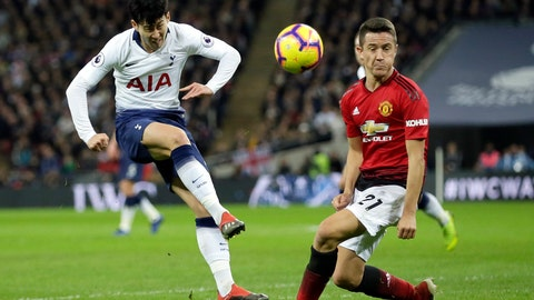 <p>               Tottenham's Son Heung-Min has a shot blocked by Manchester United's Ander Herrera, right, during the English Premier League soccer match between Tottenham Hotspur and Manchester United at Wembley stadium in London, England, Sunday, Jan. 13, 2019. (AP Photo/Tim Ireland)             </p>