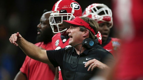 <p>               Georgia coach Kirby Smart calls out from the sideline during the first half of the team's Sugar Bowl NCAA college football game against Texas in New Orleans, Tuesday, Jan. 1, 2019. (AP Photo/Rusty Costanza)             </p>